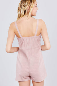 Button Down Yarn Dye Stripe Cami Linen Romper - Creole Couture Boutique