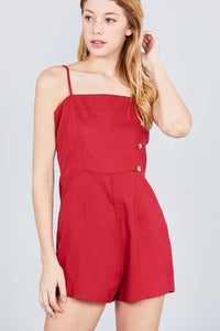 Button Down Cami Linen Romper - Creole Couture Boutique
