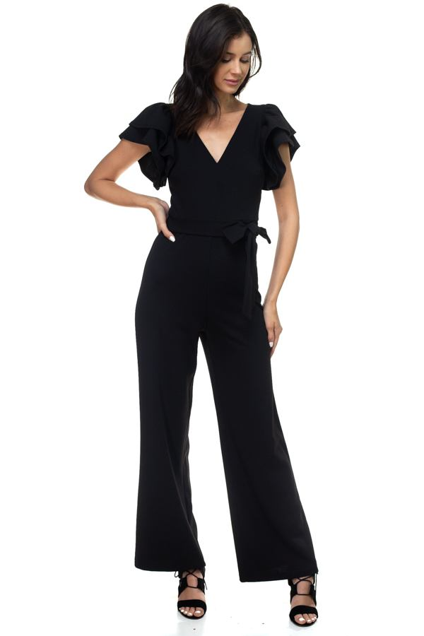 Ruffle Sleeve V-neck Jumpsuit - Creole Couture Boutique