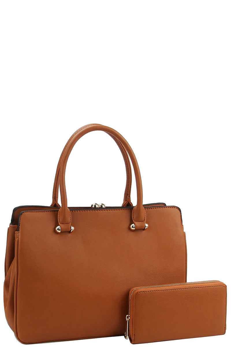 2in1 Cute Sleek Satchel With Matching Wallet - Creole Couture Boutique
