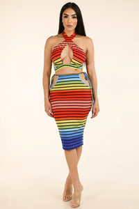 Rainbow Stripe Halter Top & Side Cutout Midi Skirt - Creole Couture Boutique