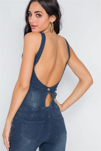 Dark Denim Stretch Zip Up Skinny Leg Jumpsuit - Creole Couture Boutique