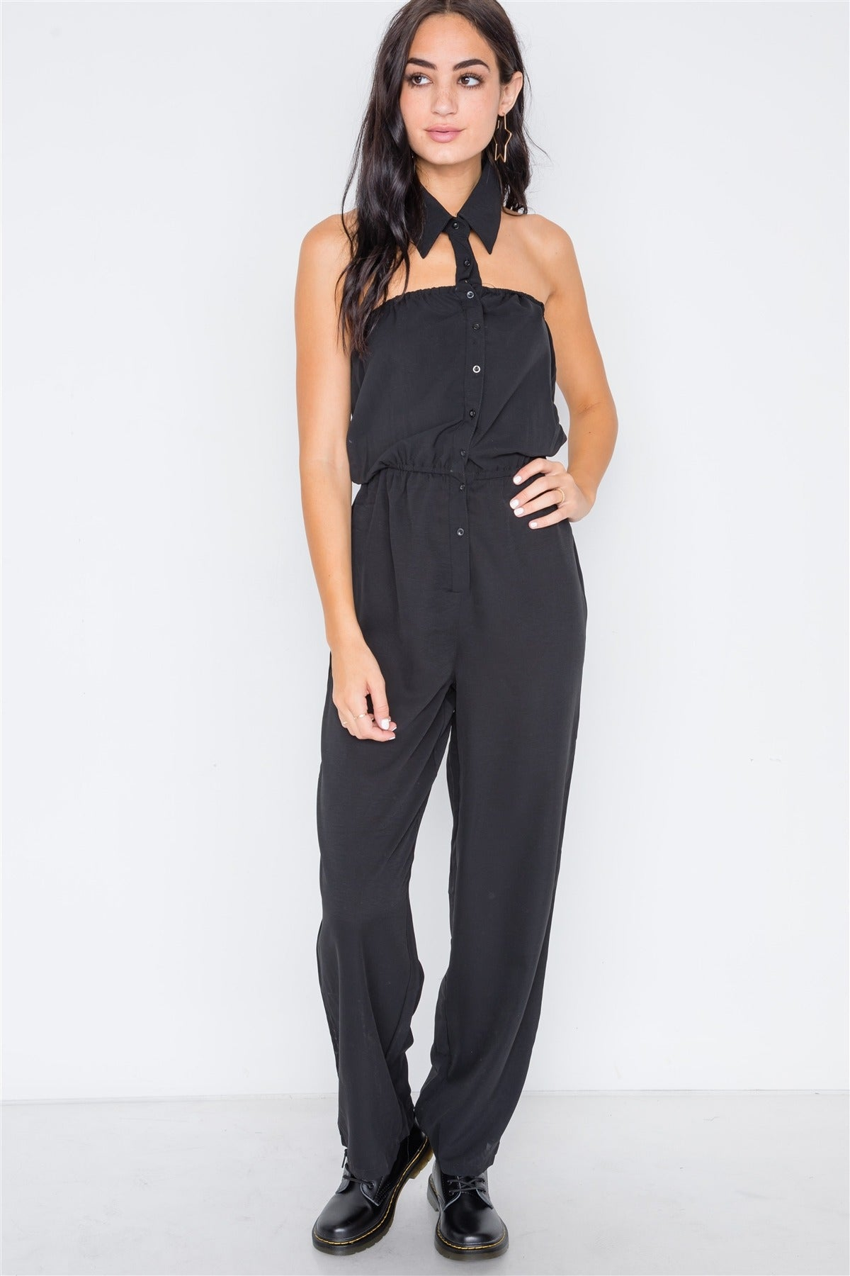 Black Basic Collar Button Down Solid Jumpsuit - Creole Couture Boutique