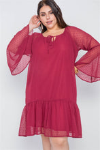 Burgundy Bell Sleeves Shirred Dress - Creole Couture Boutique