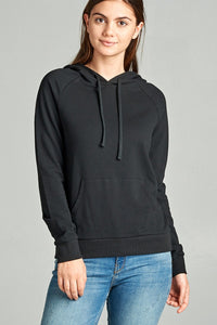 Long Sleeve Pullover French Terry Hoodie Top W/ Kangaroo Pocket - Creole Couture Boutique