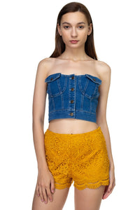 Pocket Denim Cropped Top - Creole Couture Boutique