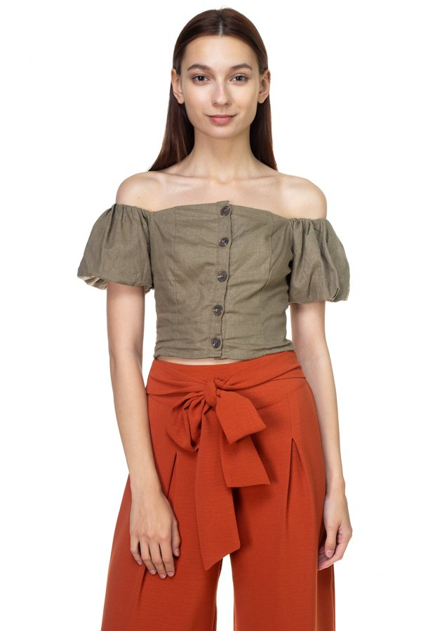 Button Down Puff Sleeve Crop Top - Creole Couture Boutique