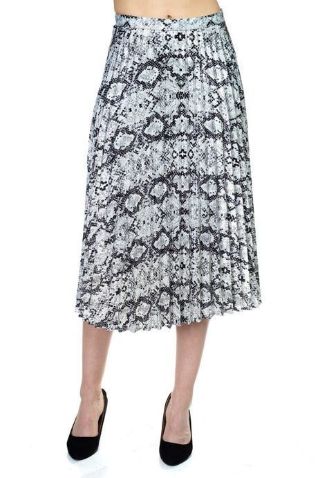 Pleated Snake Print Skirt - Creole Couture Boutique