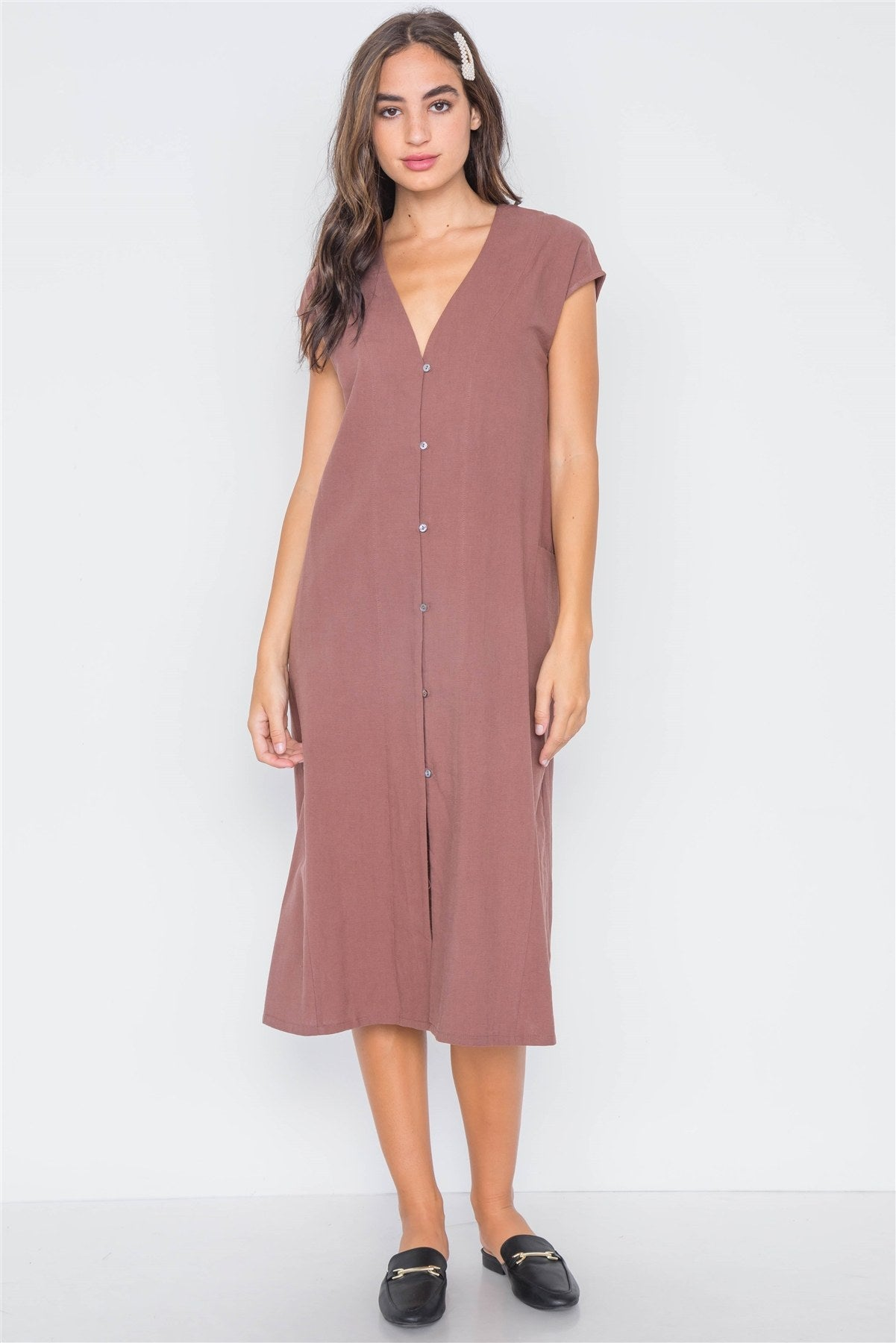 Marsala Button Down Sleeveless Midi Dress - Creole Couture Boutique