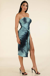 Tie Dye Printed Off Shoulder Front Slit Dress - Creole Couture Boutique
