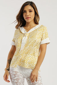 Floral Print, Sailor Girl Relaxed Top - Creole Couture Boutique