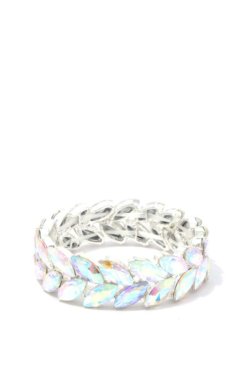 Marquise Shape Rhinestone Stretch Bracelet - Creole Couture Boutique
