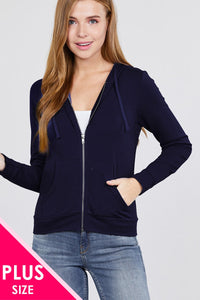 Long Sleeve Zipper French Terry Jacket W/ Kangaroo Pocket - Creole Couture Boutique