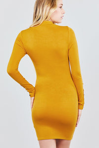 Long Sleeve W/button Detail High Neck Knit Mini Dress - Creole Couture Boutique