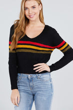 Long Sleeve V-neck Multi Stripe Crop Sweater - Creole Couture Boutique