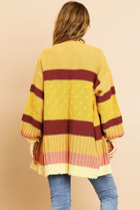 Multi Color Long Sleeve Open Front Sweater - Creole Couture Boutique