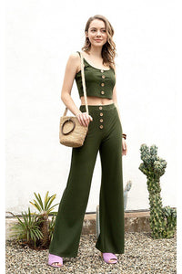 Ribbed Button Tank Top & Wide Leg Pants - Creole Couture Boutique