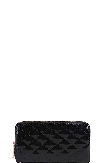 Fashion Glossy Stitched Long Wallet With Hand Strap - Creole Couture Boutique