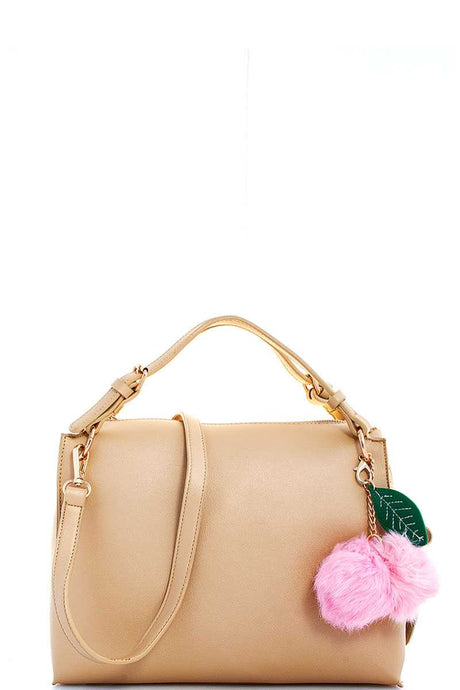 Cute Fashion Pompom Charm Satchel With Long Strap - Creole Couture Boutique