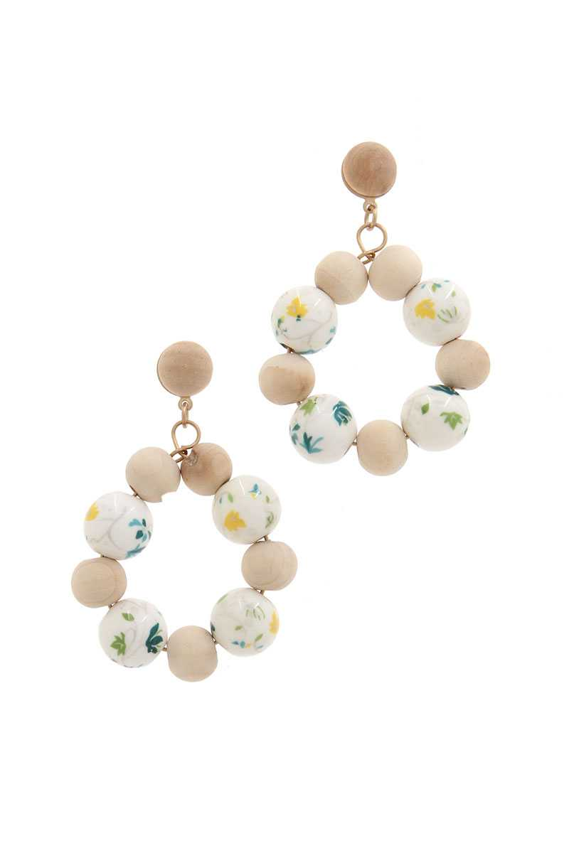 Wooden Bead Post Drop Erring - Creole Couture Boutique