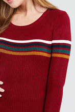 Long Sleeve Round Neck Stripe Sweater Top - Creole Couture Boutique