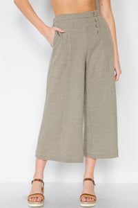 Knit Side Button Wide Leg Ankle Pants - Creole Couture Boutique