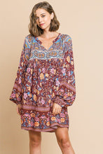 Floral Mixed Print Long Puff Sleeve Split Neck Dress - Creole Couture Boutique