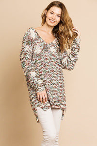 Multi Color Long Sleeve V-neck Soft Knit Pullover - Creole Couture Boutique