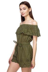 Off Shoulder Floral Embroidered Romper - Creole Couture Boutique