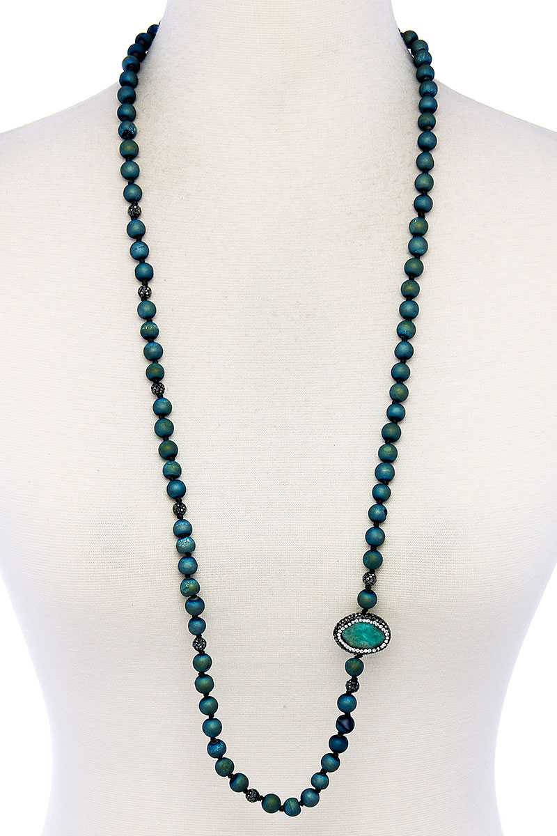 Multi Beaded And Stone Long Necklace - Creole Couture Boutique