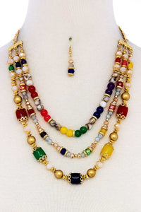 Multi Beaded Three Layer Necklace And Earring Set - Creole Couture Boutique