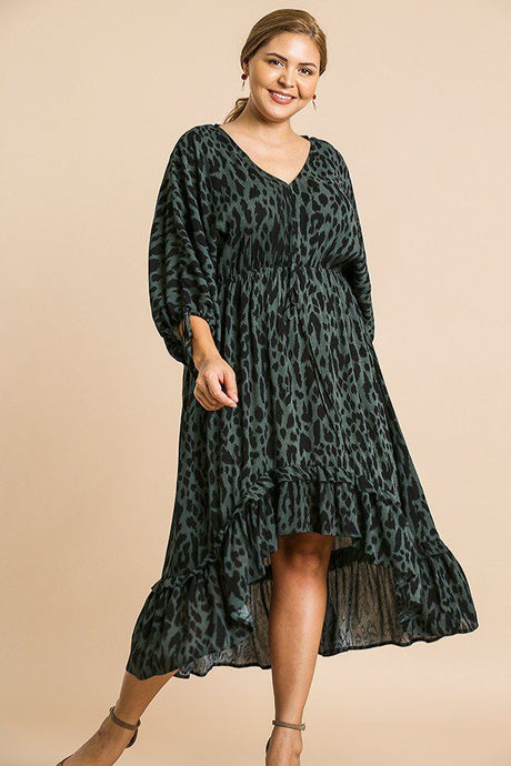Animal Print Long Puff Sleeve Dress - Creole Couture Boutique
