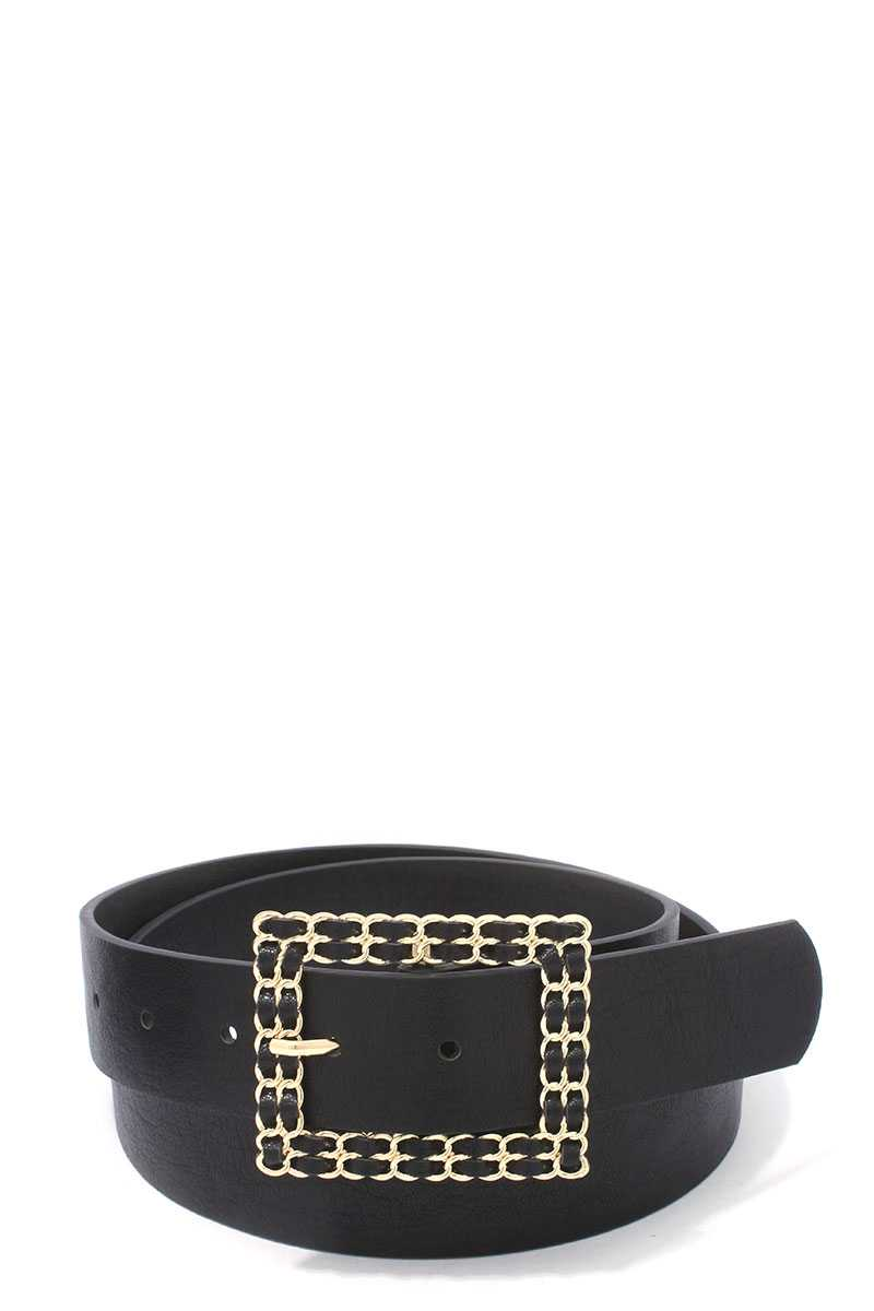 Square Shape Metal Buckle Pu Leather Belt - Creole Couture Boutique