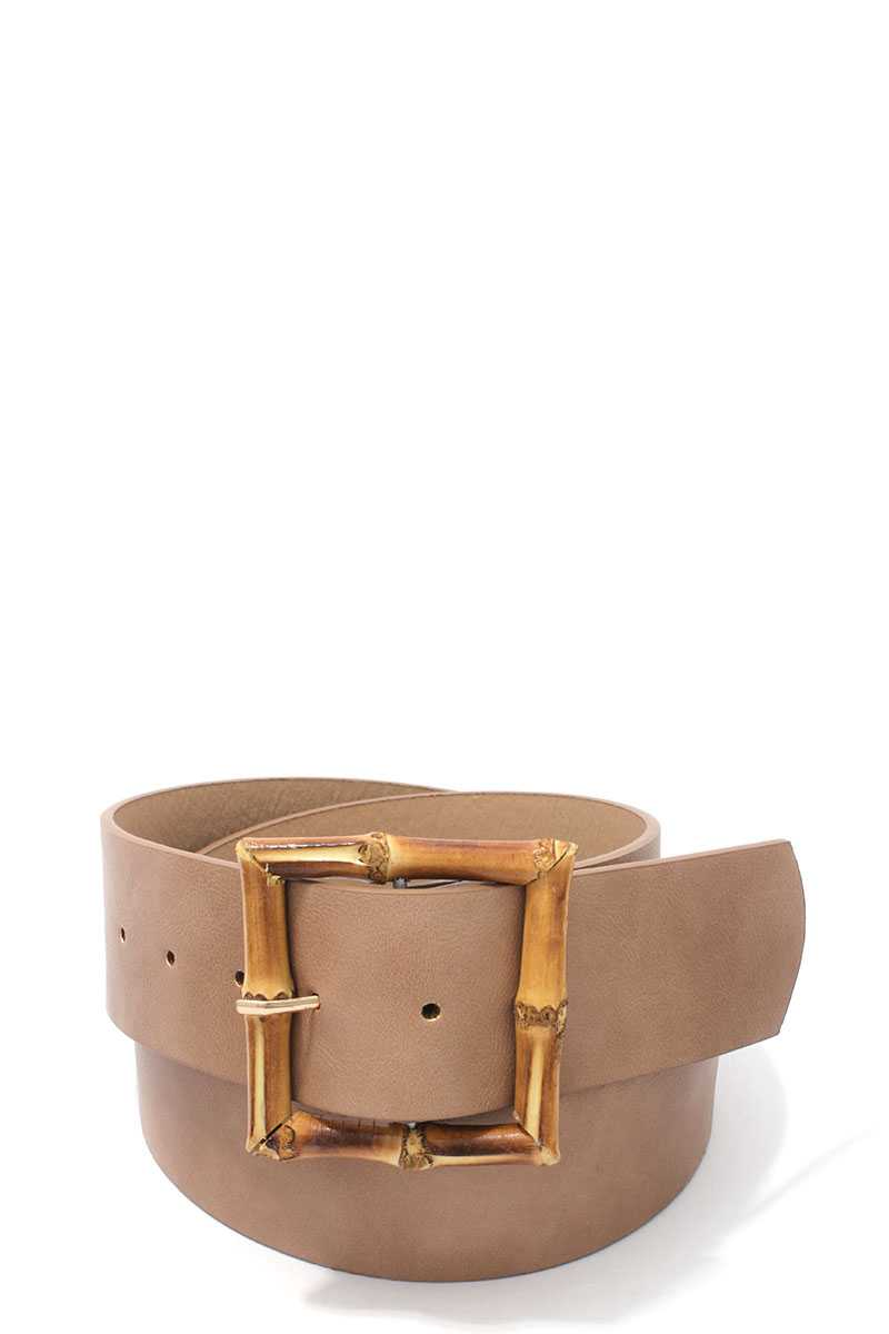 Bamboo Buckle Pu Leather Belt - Creole Couture Boutique