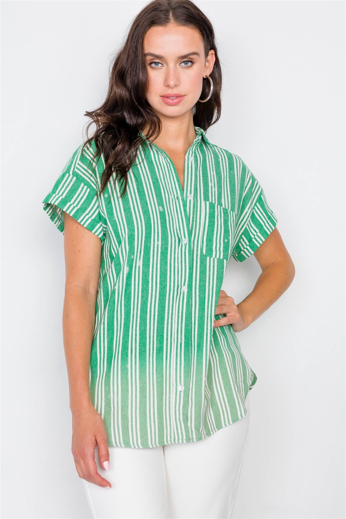 Washed Pinstripe Button Down Top - Creole Couture Boutique