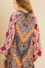 Scarf Mixed Print Long Puff Sleeve Keyhole Maxi Dress - Creole Couture Boutique