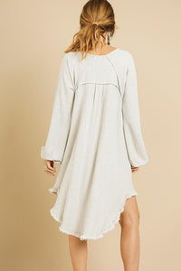 Linen Blend Long Puff Sleeve Round Neck High Low Dress - Creole Couture Boutique