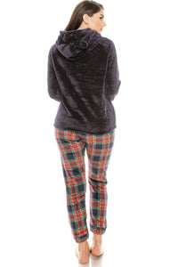 2pc Flannel Pj Set W/ Hoodie - Creole Couture Boutique