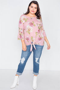 Floral Print Front Knot High-low Top - Creole Couture Boutique