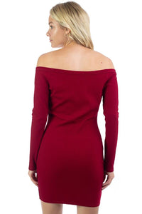 Off Shoulder Ribbed Dress - Creole Couture Boutique