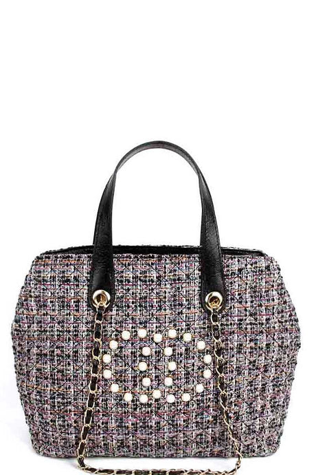 Chic Rough Fabric Woven Satchel With Linked Chain - Creole Couture Boutique