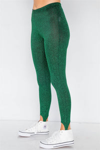 Green Glitter Stirrup Festive Leggings - Creole Couture Boutique