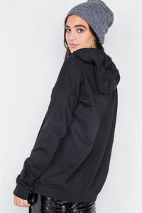 Black Cotton Zip-up Hoodie Sweater - Creole Couture Boutique