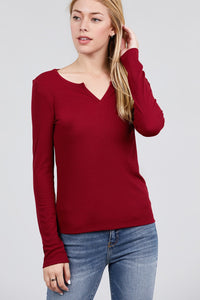 Long Sleeve V-notch Neck Rib Knit Top - Creole Couture Boutique