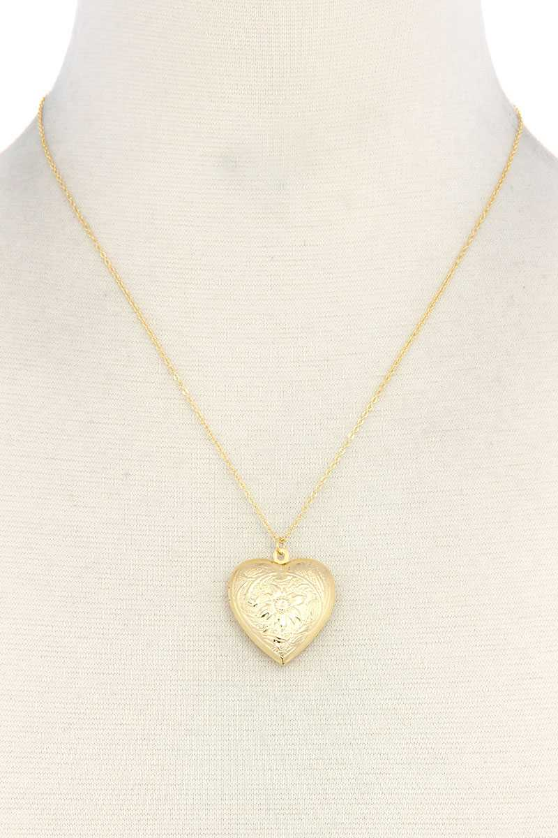 Heart Shape Locket Metal Necklace - Creole Couture Boutique