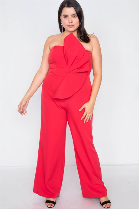 Tailored Frill Wide Leg Sleeveless Cocktail Jumpsuit - Creole Couture Boutique