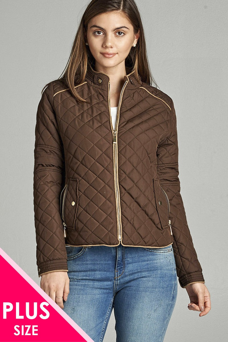 Quilted Padding Jacket With Suede Piping Details - Creole Couture Boutique