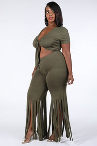 Tie Front Top & Fringe Hem Pants Set - Creole Couture Boutique