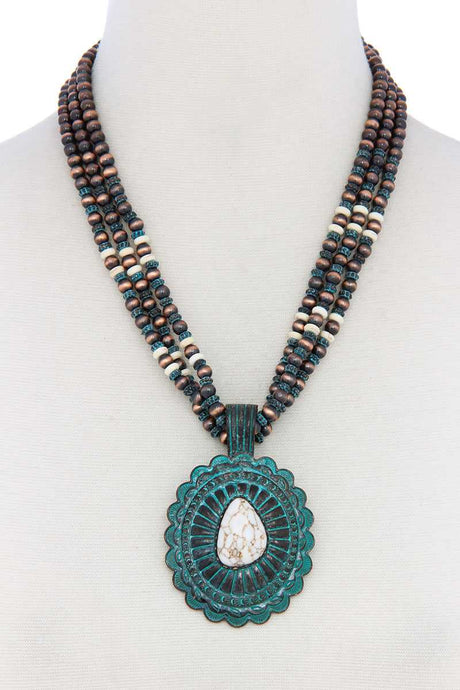 Western Concho Pendant Beaded Necklace - Creole Couture Boutique