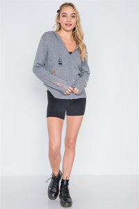 Knit Distressed Hooded Button-front Sweater - Creole Couture Boutique